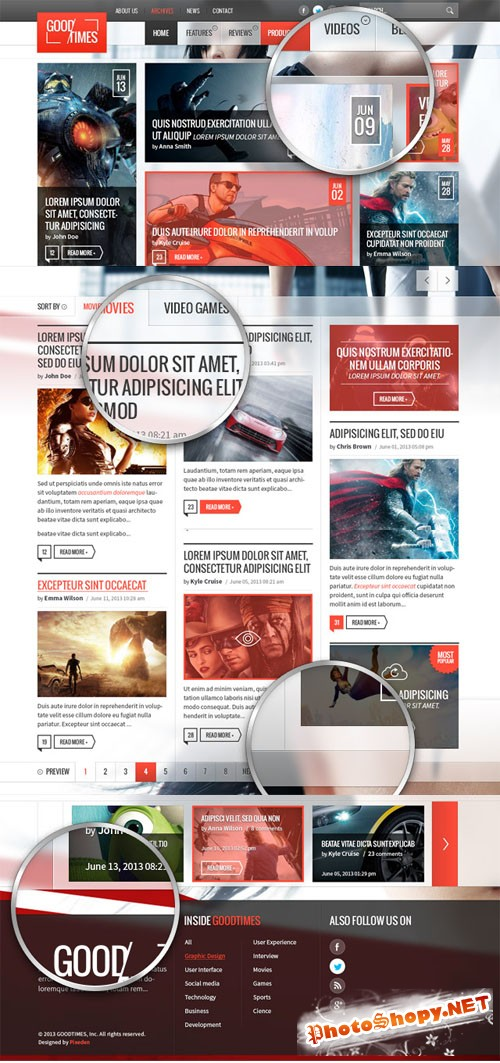 Pixeden - Good Times Magazine Psd Website