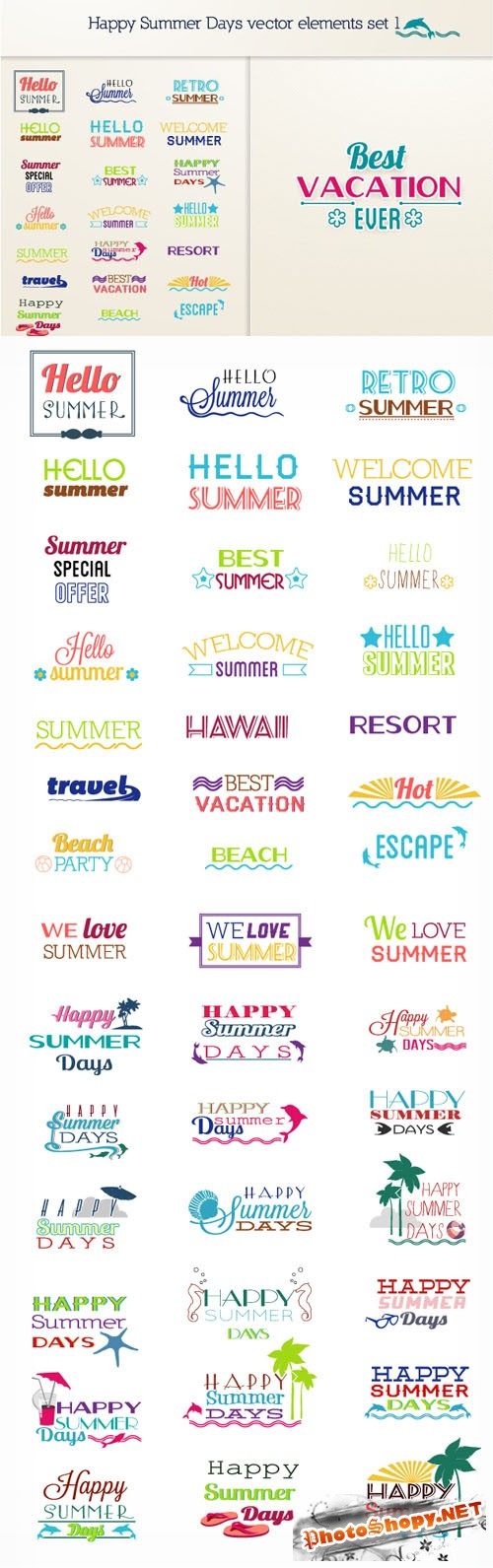 Designtnt - Summer vector elements set 1