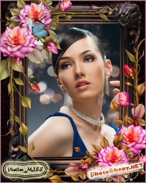 Женская фоторамка - Прекрасные розы для тебя