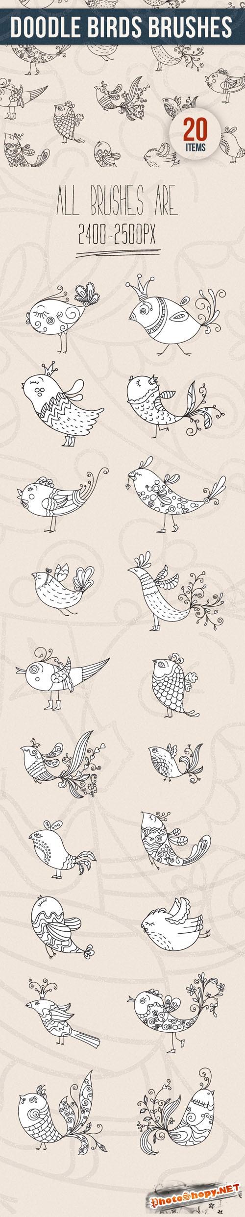 Designtnt - Doodle Birds PS Brushes