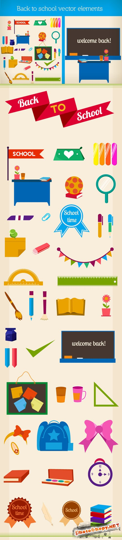 Designtnt - Back to School Vector Elements