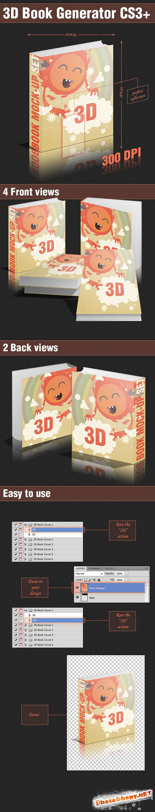 Designtnt - 3D Book Generator PS Actions