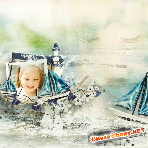 Морской скрап-комплект - Маленькая девочка-морячка