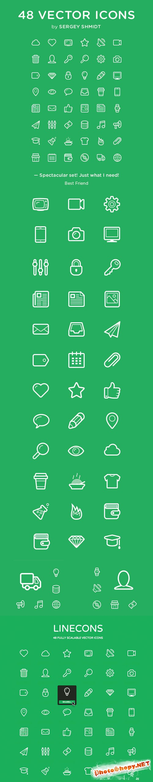 48 Linecons Vector Icons