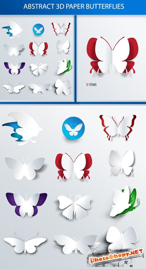 Designtnt - Abstract 3D Butterflies Set 1
