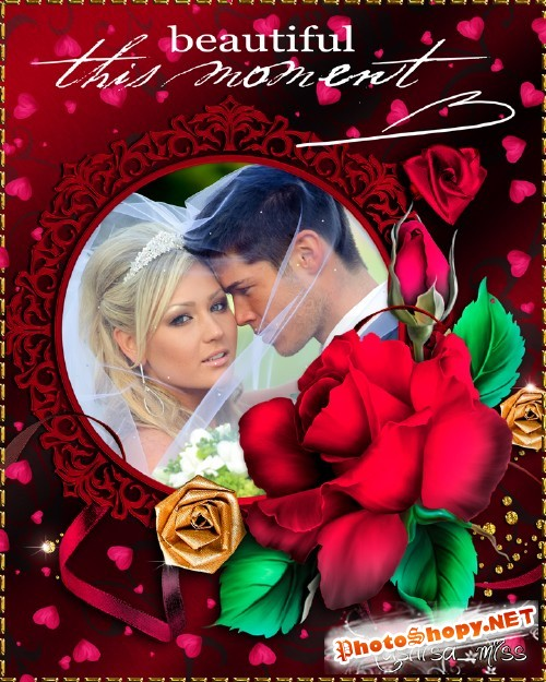 Свадебная рамка - Розы, сердечки, ленты