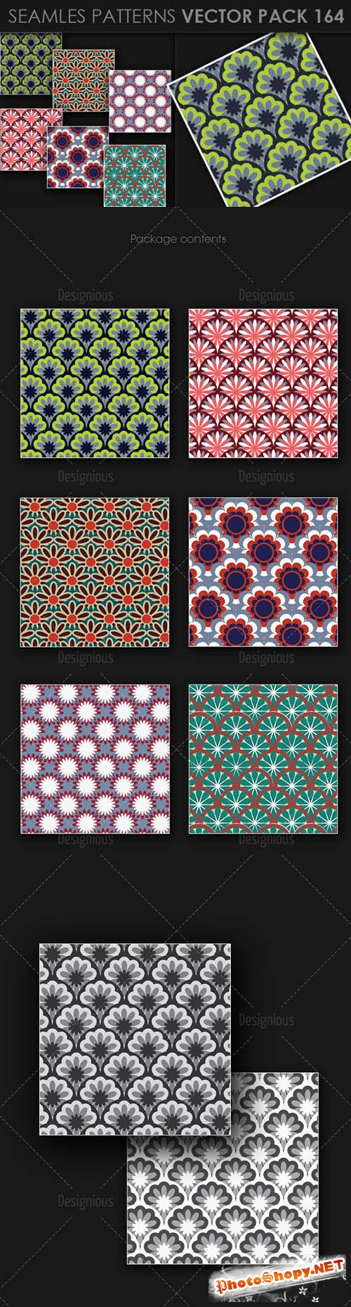 6 Seamless Patterns Vector Pack 164