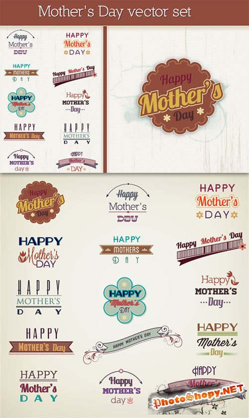 Mother's Day Photoshop Vector Set