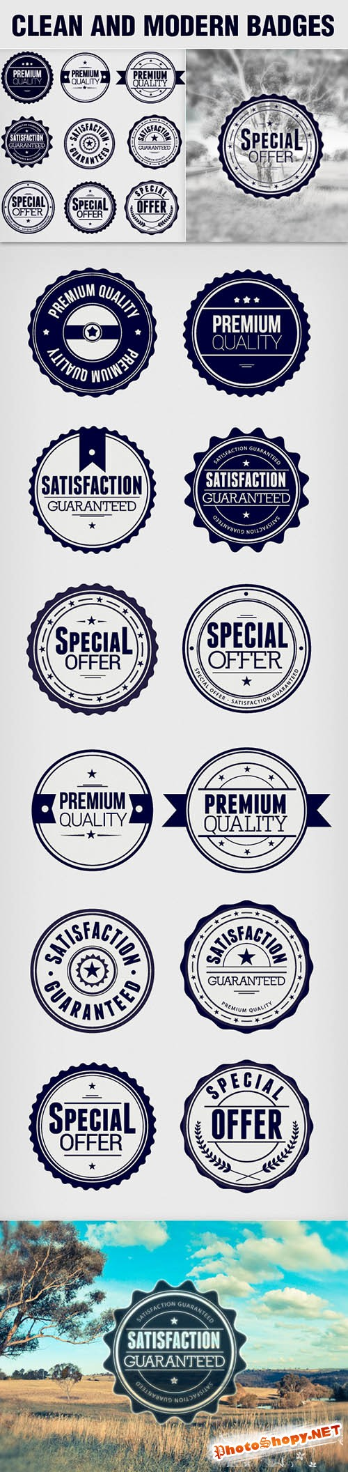 9 Clean and Modern Photoshop Badges