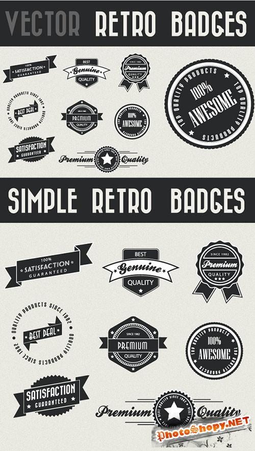 8 Vector Retro Photoshop Badges