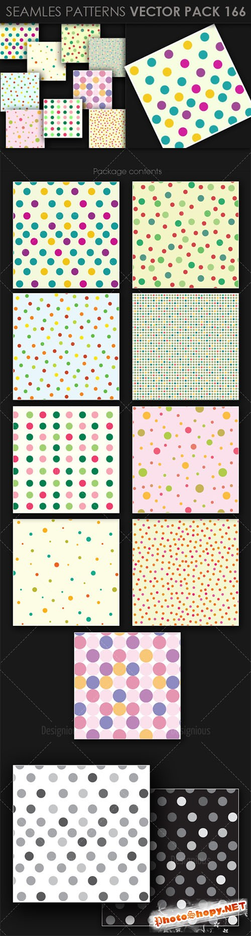 9 Seamless Patterns Vector Pack 166