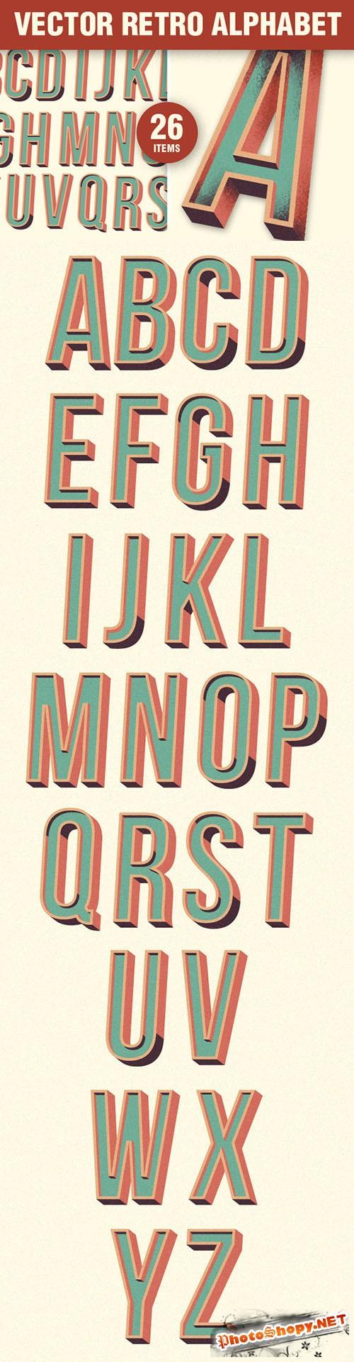 Designtnt - Flat Retro Alphabet