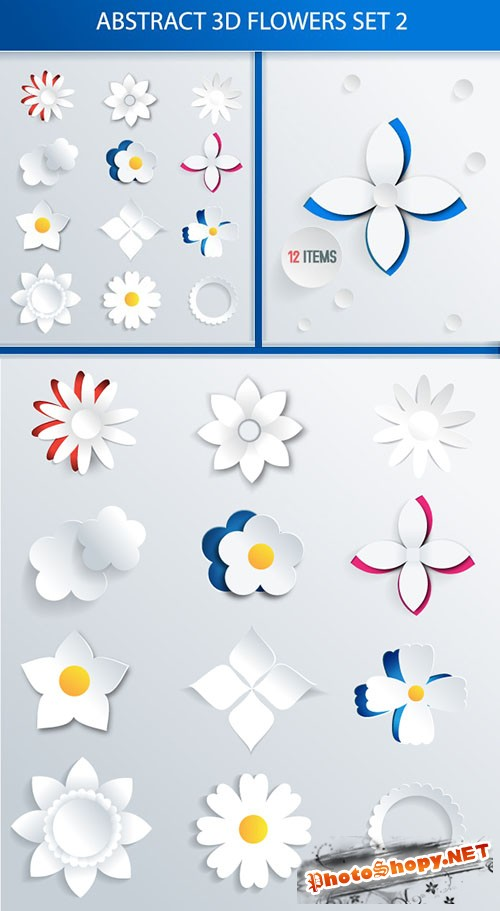 Designtnt - Abstract 3D Flowers Set 2