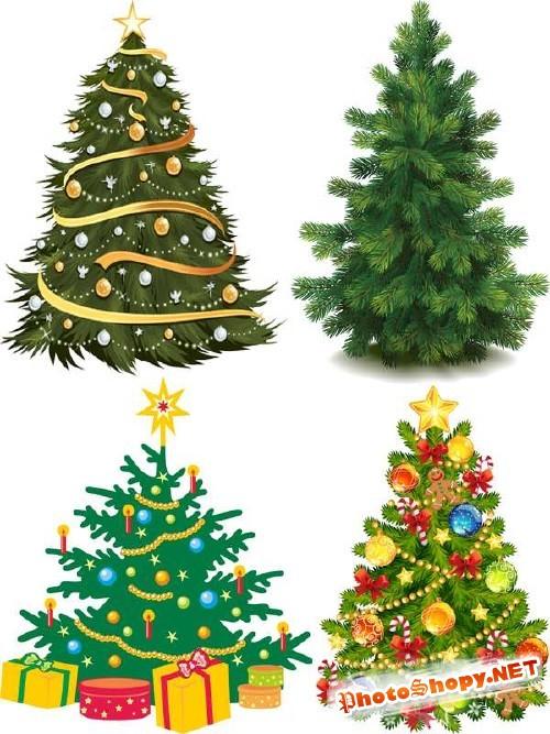Праздничная Рождественская и Новогодняя елка в векторе