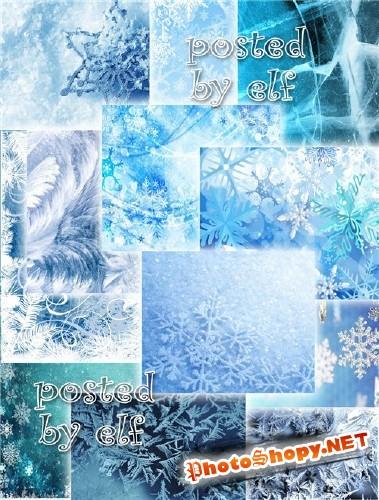 Изморозь, снежинки, лёд - набор фонов на зимнюю тему