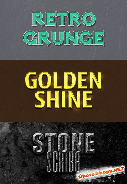 Retro Gold and Stones Photoshop Text Styles
