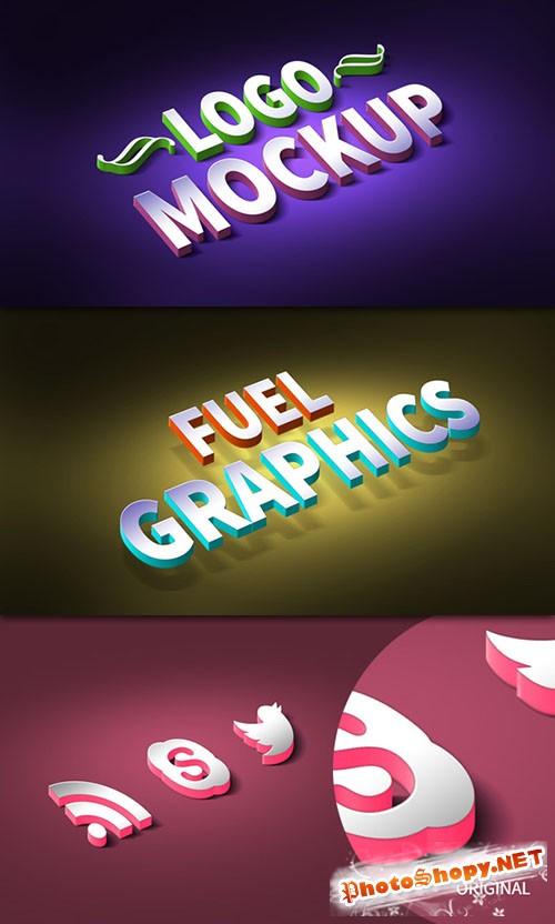 3D Logo & Text Effect Mockup PSD Template