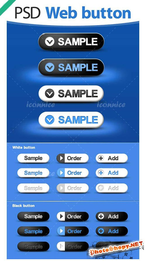 Blue Web Buttons PSD Template