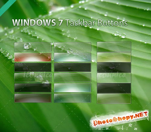 Windows7 Taskbar Button PSD Template