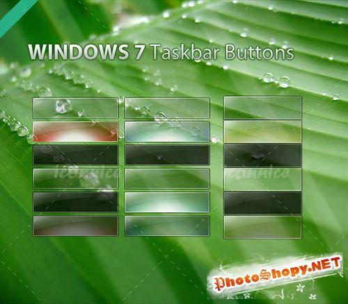 Windows7 Taskbar Button PSD Template