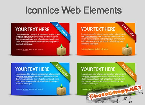 Four Colour Web Elements PSD