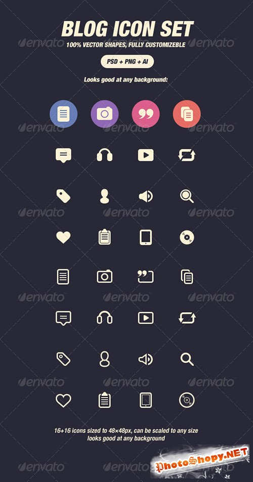GraphicRiver - Glyph Icons for Blog (48px) 3447133