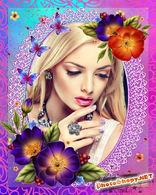Цветочная рамка - Кружево,бабочки,шиповник