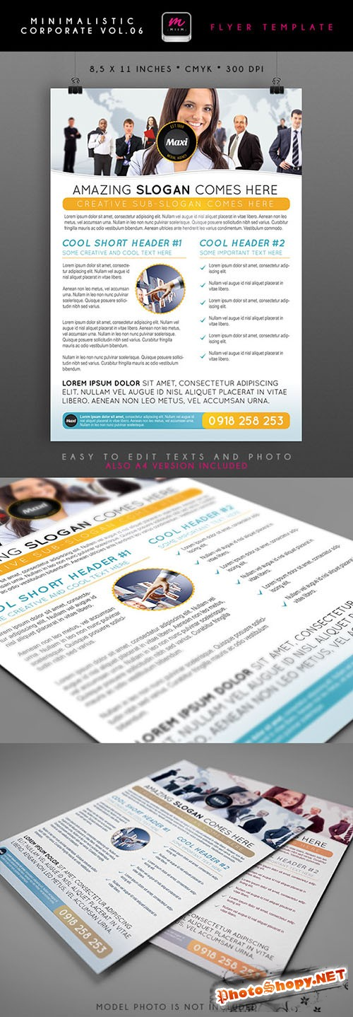 Financial Solutions Minimalistic Corporate Flyer/Poster PSD Template #5