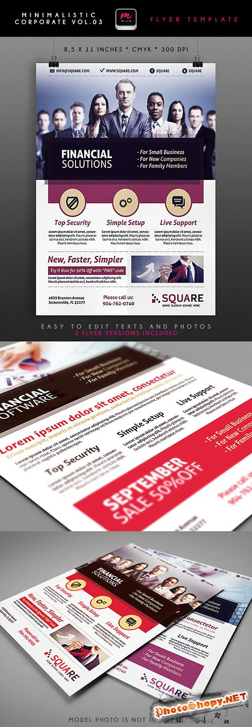 Financial Solutions Minimalistic Corporate Flyer/Poster PSD Template #3