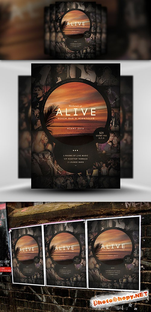 Alive Bar Flyer/Poster PSD Template