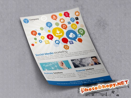 Social Media Marketing Mockup Flyer/Poster PSD Template