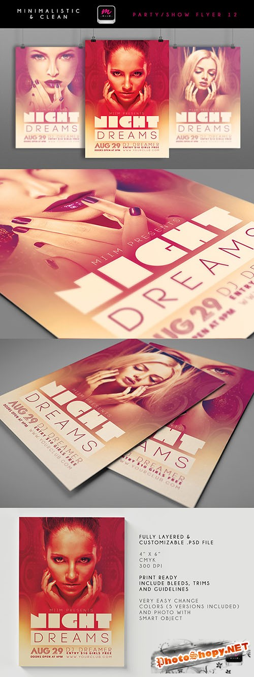 Night Dreams Minimalistic & Clean Flyer/Poster PSD Template