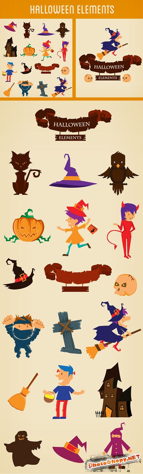 Designtnt - Halloween Vector Elements Set 2