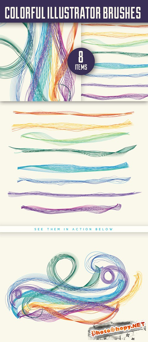 Designtnt - Colourful Brushes for Adobe Illustrator