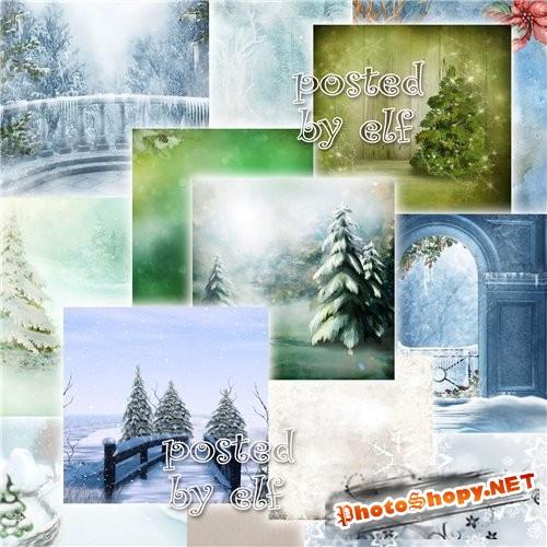 Подборка зимних фонов