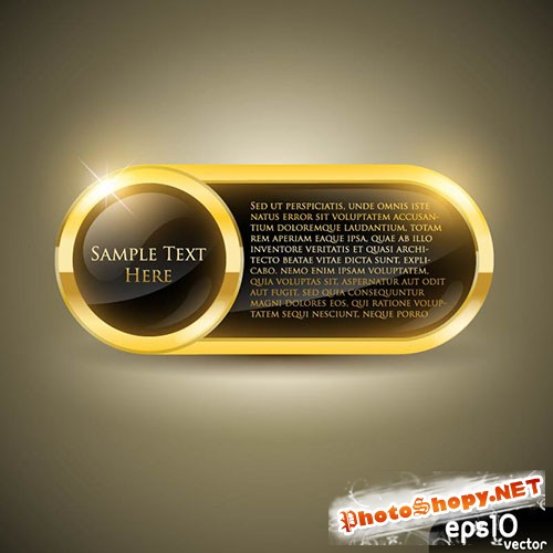 Glossy Gold Oblong Vector Frame
