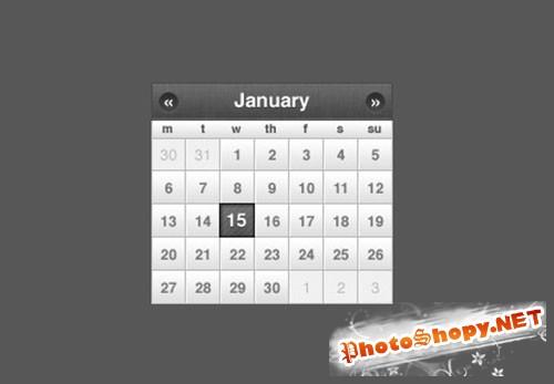 Sleek Small Calendar jQuery or CSS Date Picker PSD Template