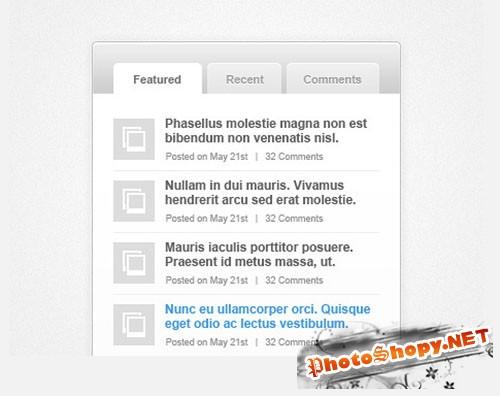 Tabbed Sidebar Widget PSD Template