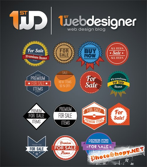 15 Beautiful Badges PSD Template