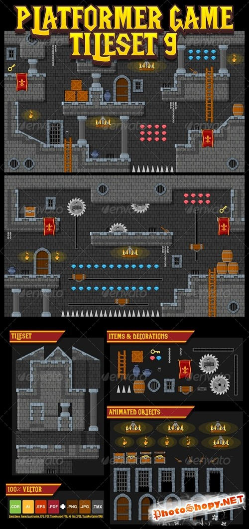 GraphicRiver - Platformer Game Tile Set 9 - 5296875
