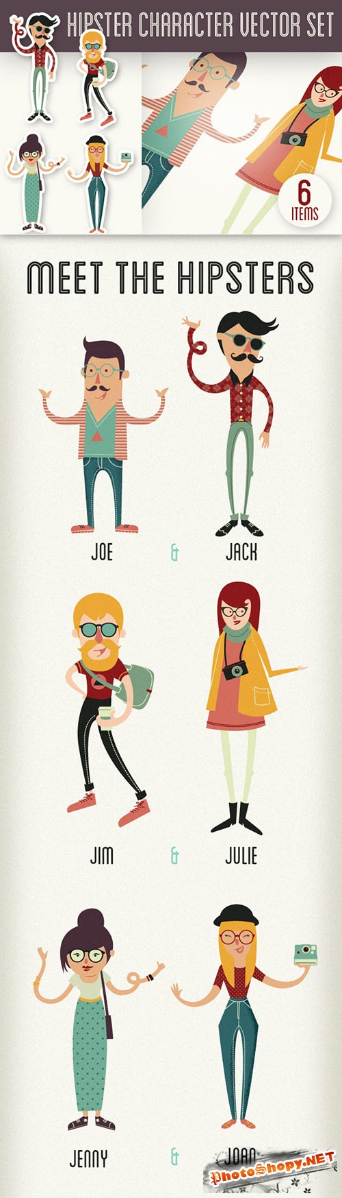 Designtnt - Hipster Vector Characters Set 1